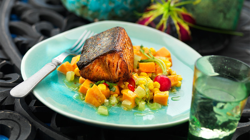 smoked-salmon-with-tepid-sweet-potato-salad